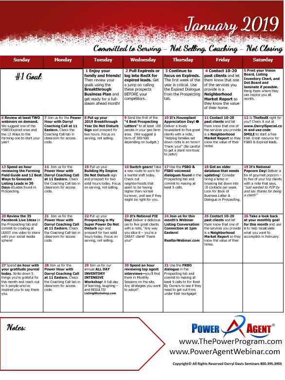 Calendar Power Agent Action January 2019 – The Power Program