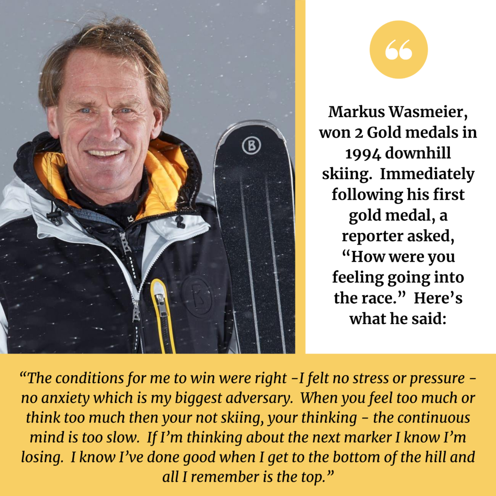 downhill skier Markus Wasmeier headshot with a quote about winning