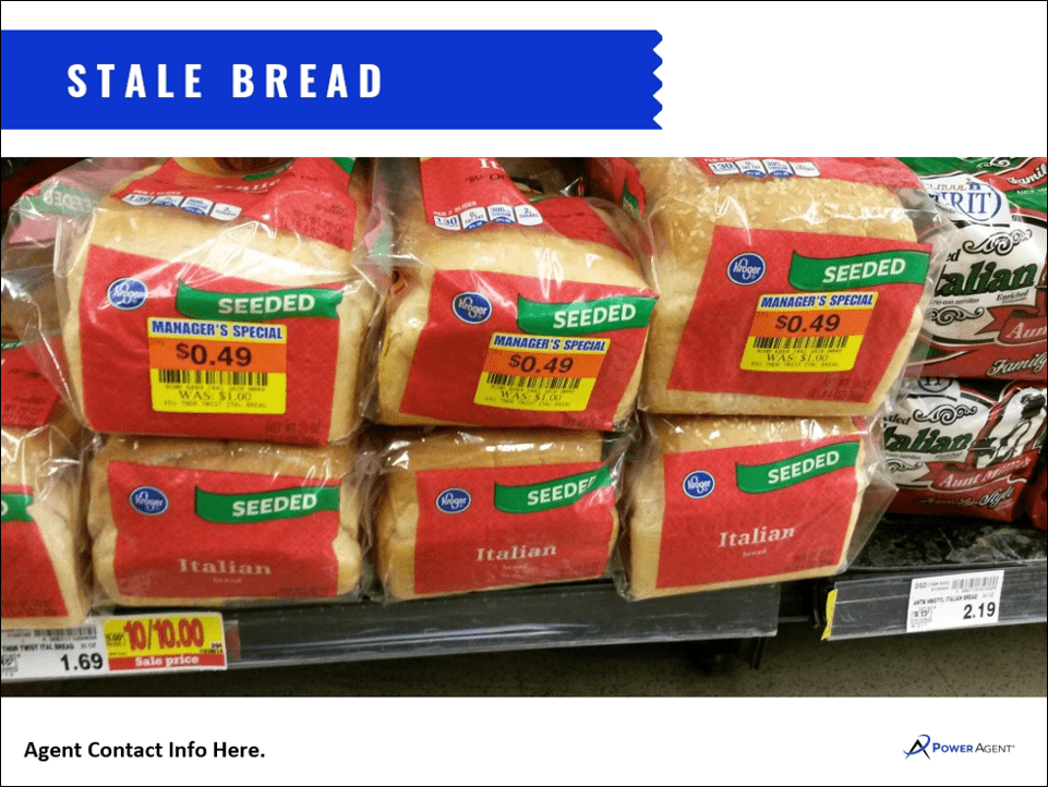 loaves of stale bread sitting on a shelf in a grocery store