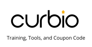 """curbio logo with """"training, tools, and coupon code"""" tagline"""