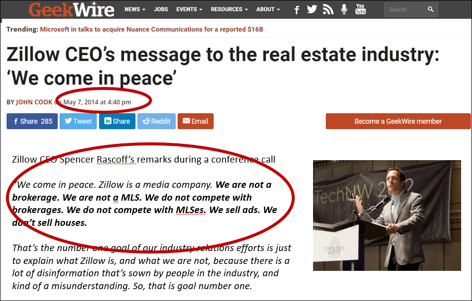 """article on GeekWire from Zillow CEO about """"coming in peace"""" when it comes to now being a real estate brokerage"""