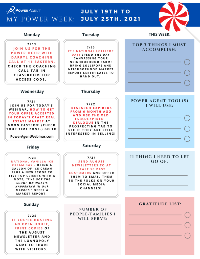 real estate marketing and goal calendar weekly